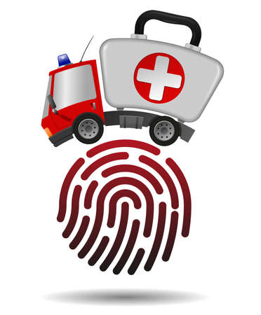 Ambulance car emergency auto as first aid kit and fingerprint, illustration