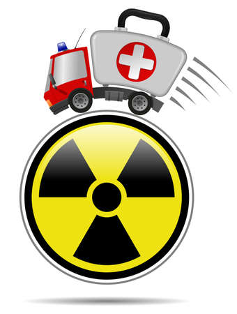 Ambulance car emergency auto as first aid kit and sign radiation symbol Imagens