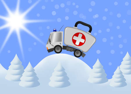 Ambulance car emergency auto as first aid kit and winter landscape