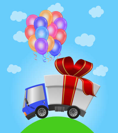 Delivery truck with gift box and balloon