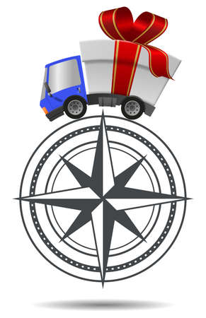 Delivery truck with gift box merrry christmas and compass, illustration Stock Photo