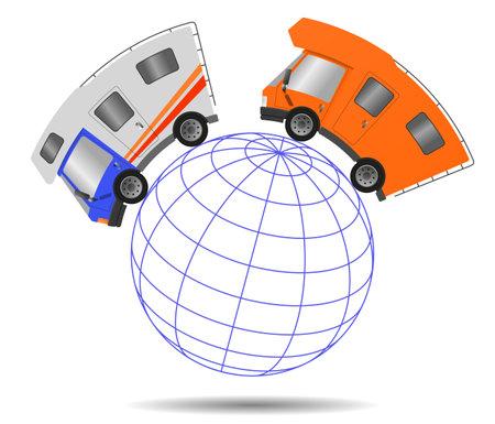 Caravan car confort travel on holiday and globe, illustration Imagens