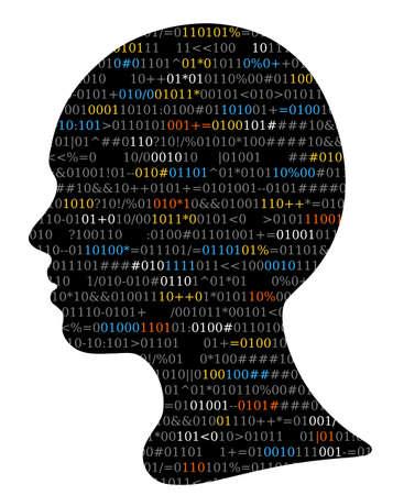 Girl silhouette, source code, Artificial Intelligence Ilustração
