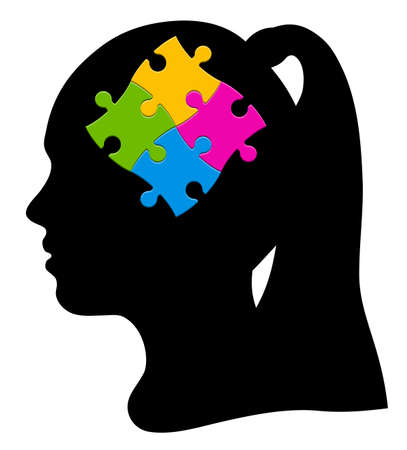 Girl silhouette and colorful puzzle, vector illustration