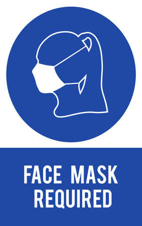 Silhouette of human head and protective medical mask, sign vector illustration