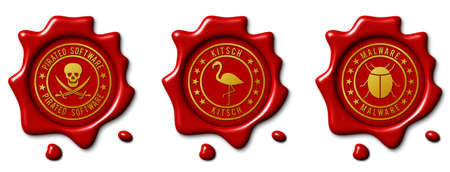 Stamp symbol as realistic red wax seal, isolated illustration