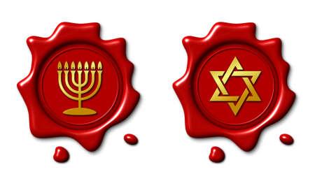 Jewish symbol and realistic red wax seal, 3d illustration