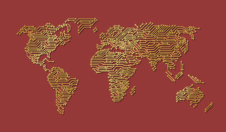 Printed circuit board map of World, gold illustration Imagens