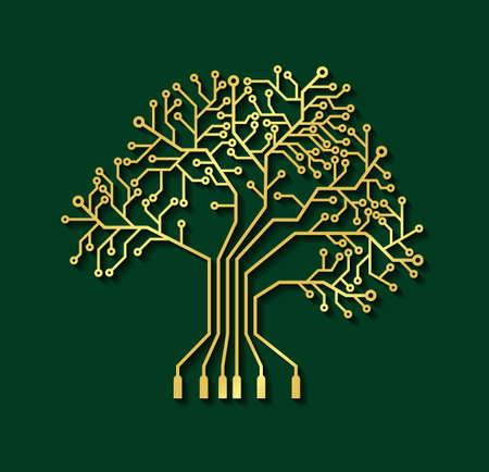 Printed circuit board like gold tree, illustration