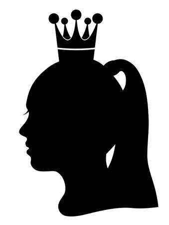 Silhouette of girl head and Beauty Queen, vector illustration