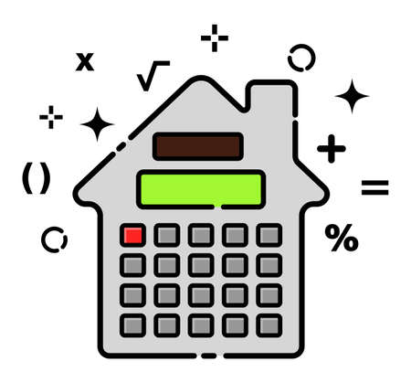 Icon battery as house, dynamic linear vector illustration