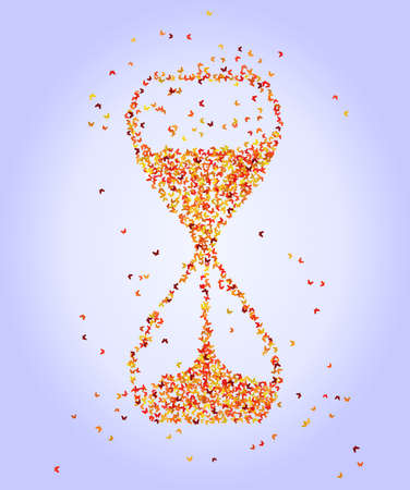 Abstract hourglass with butterflies, vector illustration