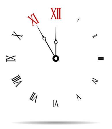 Five minutes to twelve, Wall clock vector illustration
