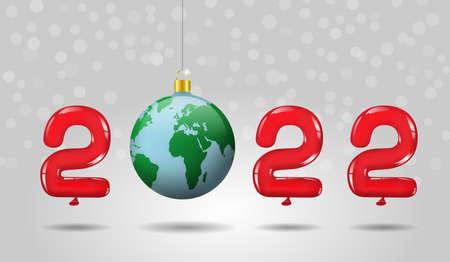 2022 Happy New Year, abstarct christmas ball, earth planet world globe map Imagens