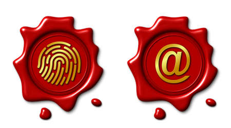 Wax seal 3d illustration, electronic signature and internet symbol