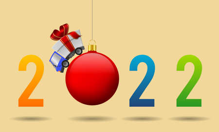 2022 Happy New Year and delivery truck with gift box and christmas ball, illustration