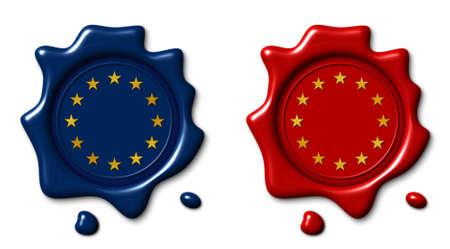 Wax seal 3d illustration, flag European Union Imagens