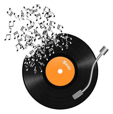 Gramophone and notes, white background, illustration Imagens