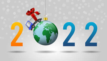 2022 Happy New Year and delivery truck with gift box and christmas ball globe, illustration