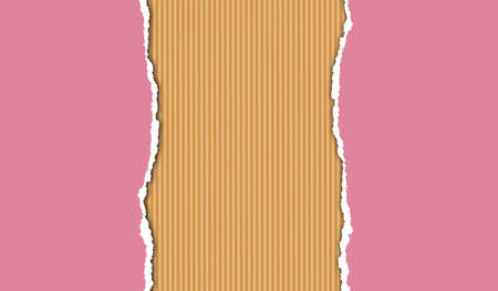 Torn pink paper, corrugated carboard