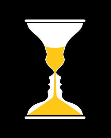 Rubin vase and hourglass, optical illusion