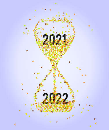 Abstract hourglass with butterflies, concept New Year 2022
