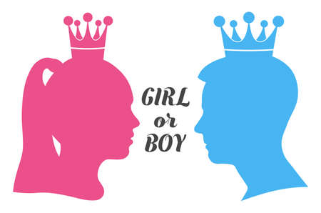Boy or girl? Silhouette of little princess and prince