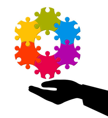 Hand holding a hexagon shaped puzzle, business model, teamwork concept