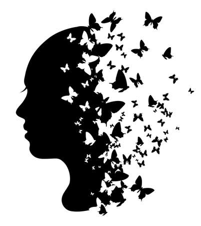 Silhouette of a girl with butterflies, vector illustration