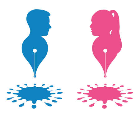 Abstract pen and paint splashes, silhouette head boy and girl