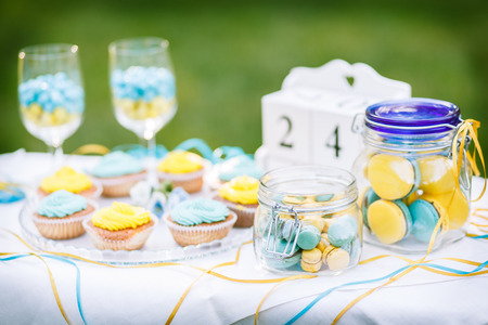 Sweets on a plate that is on the table on a background of green grass photo