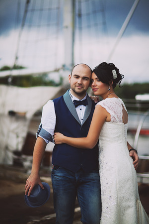 hairpiece: Stylish Autumn wedding a beautiful bride and brave groom