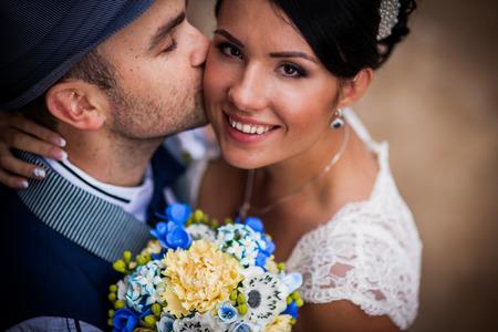 Stylish Autumn wedding a beautiful bride and brave groom
