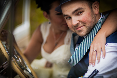 Stylish Autumn wedding a beautiful bride and brave groom photo