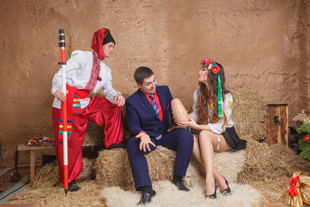 traditions: Ukrainian national clothes traditions sitting red girl