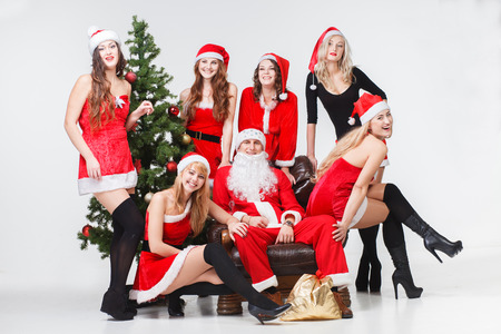 sexy santas girls red white isolated blonde photo