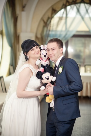 Bride groom Mickey Mouse wedding toys dress Stock Photo