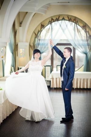 woman wedding: wedding dance white dress bride groom impression