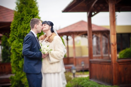 wedding couple in park white dress bride photo