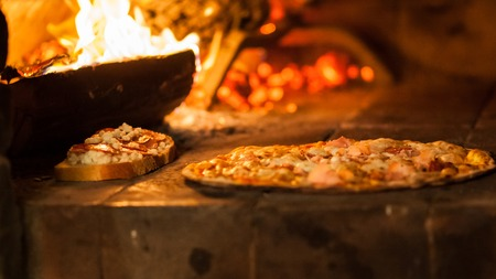 brick kiln: Pizza in old stove fire temperature hot