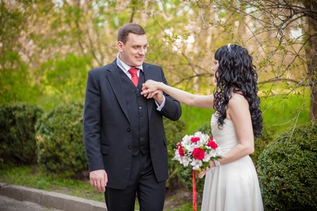 sexy girls kissing: The groom kisses a hand of his bride Stock Photo
