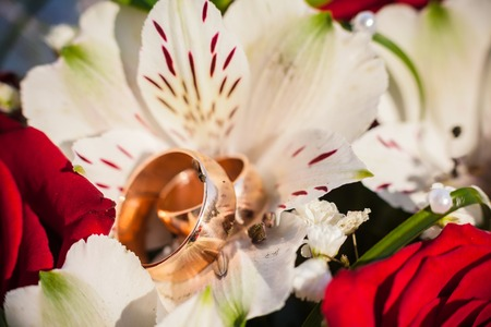 Wedding rings in wedding bouquet on flowers photo