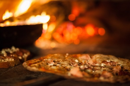 stove fire: Pizza in old stove fire temperature hot