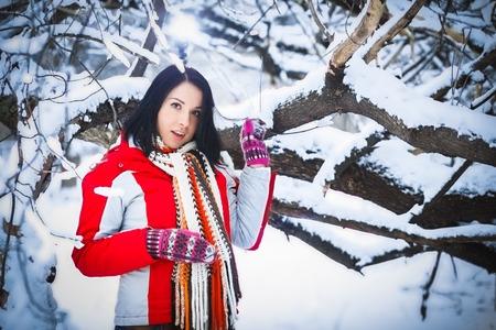 drifts: Woman winter snow drifts nature portrait funny