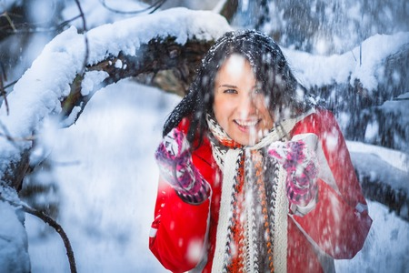 Woman winter snow drifts nature portrait funny photo