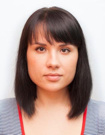 foto carnet: foto de documentos mujer joven morena fanny Foto de archivo