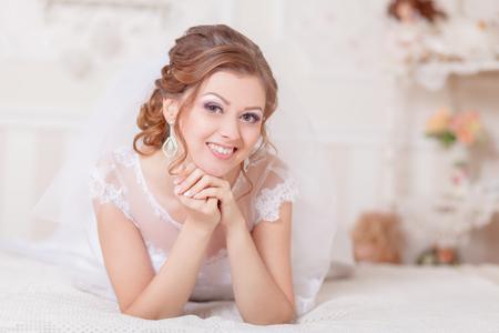 gentle: Beautiful gentle bride wedding white modern