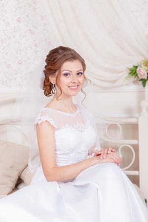 stylish couple: cheerful and gentle charming bride wedding Stock Photo