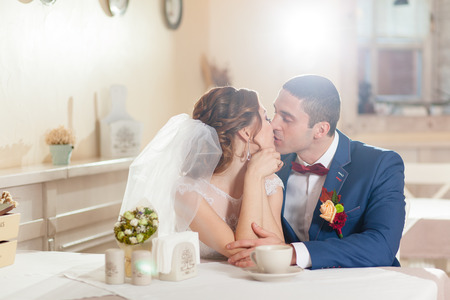 sweet couple: sweet couple drinking tea in the restaurant Stock Photo