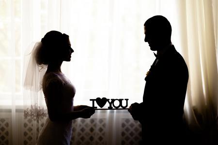 matrimonio feliz: amar ceremonia de boda de la silueta te quiero